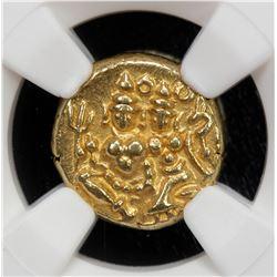 MYSORE: Krishna Raja Wodeyar, 1810-1868, AV pagoda, ND. NGC MS63