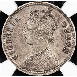 BRITISH INDIA: Victoria, as Queen, 1837-1876, AR 1/4 rupee, 1876 (c). NGC AU53
