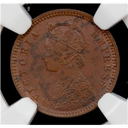 BRITISH INDIA: Victoria, Empress, 1876-1901, AE 1/12 anna, 1887(c). NGC MS62