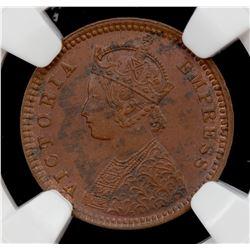 BRITISH INDIA: Victoria, Empress, 1876-1901, AE 1/12 anna, 1887(c). NGC MS62