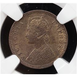 BRITISH INDIA: Victoria, Empress, 1876-1901, AE 1/12 anna, 1891(c). NGC MS61