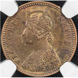 BRITISH INDIA: Victoria, Empress, 1876-1901, AE 1/12 anna, 1893(c). NGC MS64