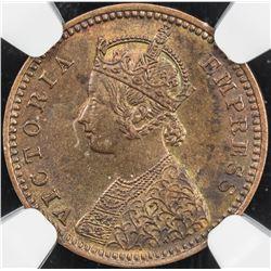 BRITISH INDIA: Victoria, Empress, 1876-1901, AE 1/12 anna, 1893(c). NGC MS64