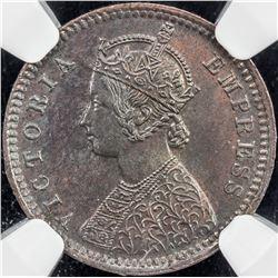 BRITISH INDIA: Victoria, Empress, 1876-1901, AE 1/12 anna, 1899(c). NGC MS64