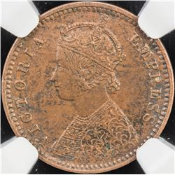 BRITISH INDIA: Victoria, Empress, 1876-1901, AE 1/12 anna, 1899(c). NGC MS61