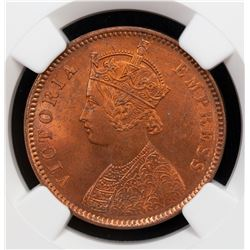 BRITISH INDIA: Victoria, Empress, 1876-1901, AE 1/4 anna, 1880(c). NGC MS64