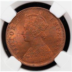 BRITISH INDIA: Victoria, Empress, 1876-1901, AE 1/4 anna, 1880(c). NGC MS64