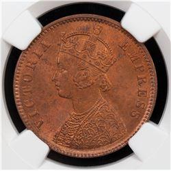 BRITISH INDIA: Victoria, Empress, 1876-1901, AE 1/4 anna, 1889(c). NGC MS65