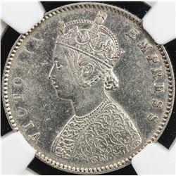 BRITISH INDIA: Victoria, Empress, 1876-1901, AR 1/2 rupee, 1877(c). NGC EF