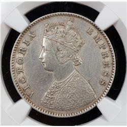 BRITISH INDIA: Victoria, Empress, 1876-1901, AR 1/2 rupee, 1881-C. NGC EF
