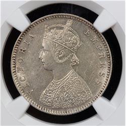 BRITISH INDIA: Victoria, Empress, 1876-1901, AR 1/2 rupee, 1885-B. NGC AU55