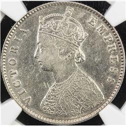BRITISH INDIA: Victoria, Empress, 1876-1901, AR 1/2 rupee, 1886-C. NGC EF