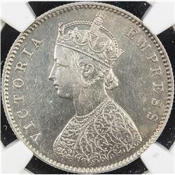 BRITISH INDIA: Victoria, Empress, 1876-1901, AR 1/2 rupee, 1894-C. NGC AU