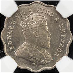 BRITISH INDIA: Edward VII, 1901-1910, 1 anna, 1907-B. NGC MS63