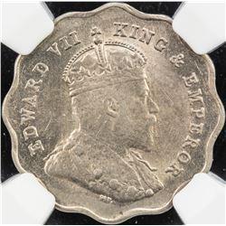 BRITISH INDIA: Edward VII, 1901-1910, 1 anna, 1907-B. NGC MS62