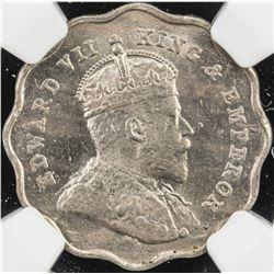 BRITISH INDIA: Edward VII, 1901-1910, 1 anna, 1908-B. NGC MS63