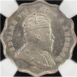 BRITISH INDIA: Edward VII, 1901-1910, 1 anna, 1908-B. NGC MS62