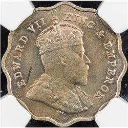 BRITISH INDIA: Edward VII, 1901-1910, 1 anna, 1910-B. NGC MS63
