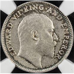 BRITISH INDIA: Edward VII, 1901-1910, AR 1/4 rupee, 1907(c). NGC MS62