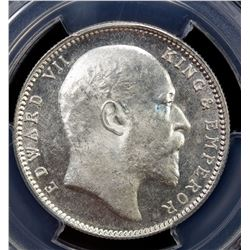 BRITISH INDIA: Edward VII, 1901-1910, AR rupee, 1904-B. PCGS MS63