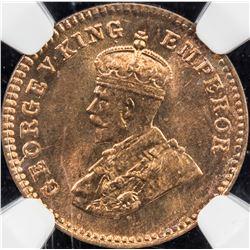 BRITISH INDIA: George V, 1910-1936, AE 1/12 anna, 1921(c). NGC MS65