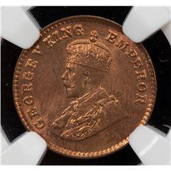 BRITISH INDIA: George V, 1910-1936, AE 1/12 anna, 1928(b). NGC MS65