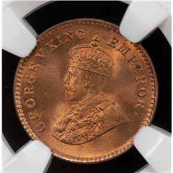 BRITISH INDIA: George V, 1910-1936, AE 1/12 anna, 1932(c). NGC MS65