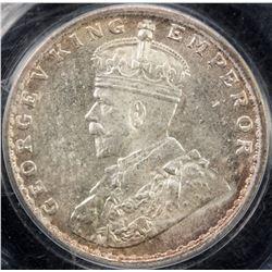 BRITISH INDIA: George V, 1910-1936, AR 2 annas, 1912(b). PCGS MS63
