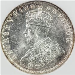 BRITISH INDIA: George V, 1910-1936, AR 2 annas, 1917(c). NGC MS65