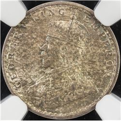 BRITISH INDIA: George V, 1910-1936, AR 2 annas, 1917(c). NGC MS64