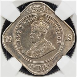 BRITISH INDIA: George V, 1910-1936, 2 annas, 1918(c). NGC MS63