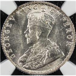 BRITISH INDIA: George V, 1910-1936, AR 1/4 rupee, 1925(b). NGC MS64