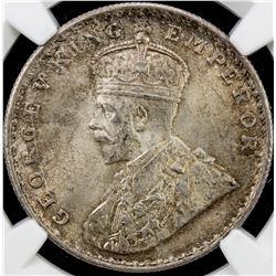 BRITISH INDIA: George V, 1910-1936, AR rupee, 1911(c). NGC MS64
