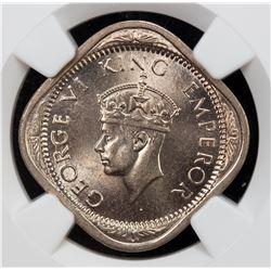BRITISH INDIA: George VI, 1936-1952, 2 annas, 1941(c). NGC MS64