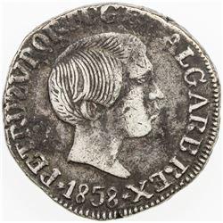 PORTUGUESE INDIA: GOA: Pedro V, 1853-1861, AR rupia (10.99g), 1858. VF
