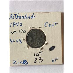 1942 WWII Netherlands Cent Very Fine Grade