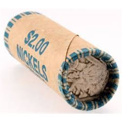 Roll of Nickels 40 Total with a Buffalo Nickel on End Showing