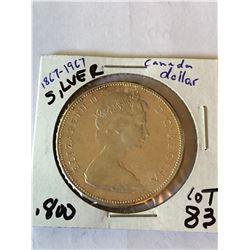 1967 Silver Canada Goose Dollar 100 Year Coin 800 Silver