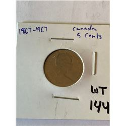 1967 Silver Canada 5 Cents Mint Coin
