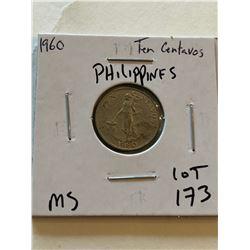 1960 Philippines 10 Centavos MS High Grade