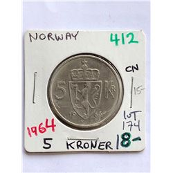Hard to Get 1964 NORWAY 5 Kroner Coin