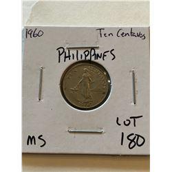 1960 Philippines 10 Centavos MS High Grade Coin