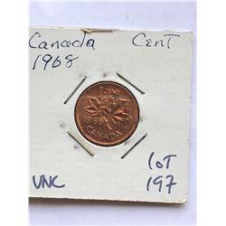 1968 Canada 1 Cent in UNC High Grade