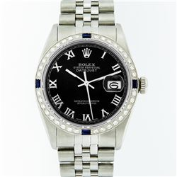 Rolex Mens Stainless Steel Black Roman Diamond & Sapphire Datejust Wristwatch