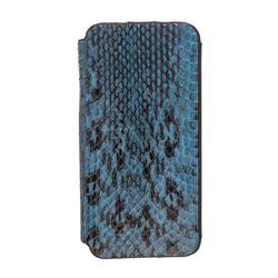 MCM Blue Snakeskin Leather Flap iPhone 5 Case