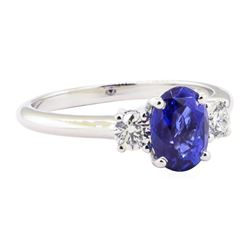 2.15 ctw Sapphire And Diamond Ring - 14KT White Gold