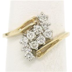 14k Two Tone Gold .52 ctw Bypass Style Prong Set Diamond Wave Cluster Ring