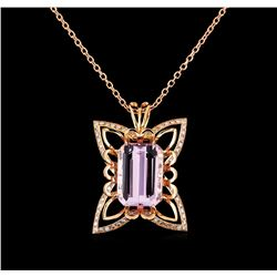 31.25 ctw Kunzite and Diamond Pendant With Chain - 14KT Rose Gold