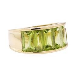 4.50 ctw Peridot Ring - 14KT Yellow Gold