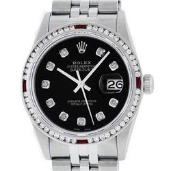 Rolex Mens SS Black Diamond & Ruby Channel Set Diamond Datejust Wristwatch